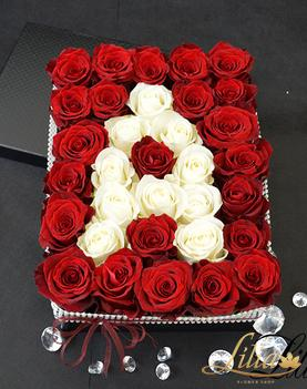 Box with letter of roses